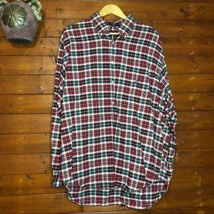 Nautica button down shirt size XL Plaid Red/Black